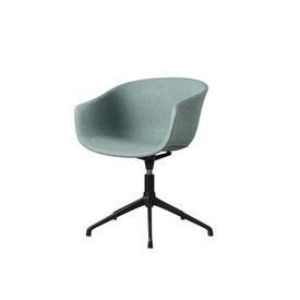 Mint Green Fabric ''Bai'' Swivel Chair on Black Base