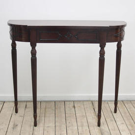 """3'3"""" Mahogany Reedleg Victorian Style Console Table with Drawer"""
