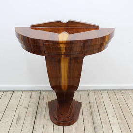 """2'4"""" Rosewood/Maple & Black Art Deco Style Console Table with Drawer"""