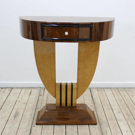 """2'11"""" Rosewood & Maple Art Deco Style Console Table with Drawer & Step Base"""