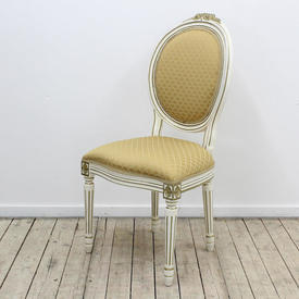 White & Gold Oval Back Chair with Pale Gold Patterned Upholstery
