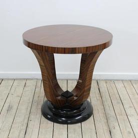 2' Circular Rosewood Art Deco Lamp Table with Black Circular Base