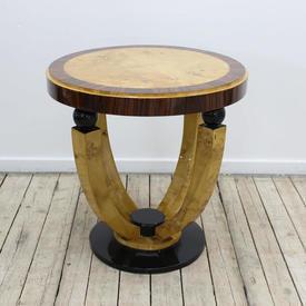 2' Circular Maple & Rosewood Art Deco Lamp Table with Black Circular Base