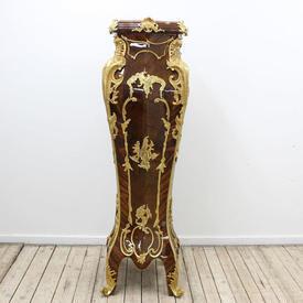 4'11 Louis Style Bombe Shape Ormolu Kingwood & Mah Pedestal Marble Top
