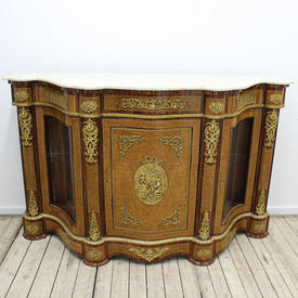 5'6 Mah & Ormolu French Style Sepentine Credenza with Marble Top