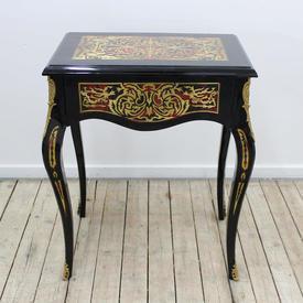 """2Ft  x  16"""" Black & Gold Boulie Single Drawer Side Table"""