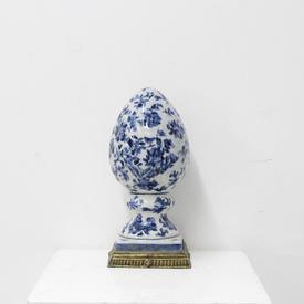 Blue And White Ceramic Egg on Gilt Base