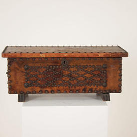 2Ft Brown Leather Studded Chest with Brass Handles