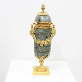 """13"""" Green Marble & Brass 'Satyr' Decorated Urn & Lid"""
