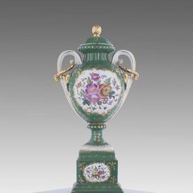 """19"""" English Porcelain, Grn, Gilt & Floral Decor 3-Part Side Urn"""