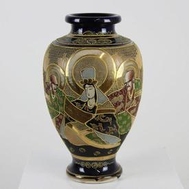 """12"""" Blue & Gilded """"Satsuma"""" Decorated Vase"""