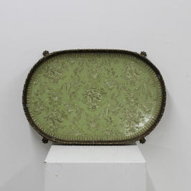 """20"""" Green Porcelain Flower Pattern & Brass Gallery Tray with Paw Feet"""