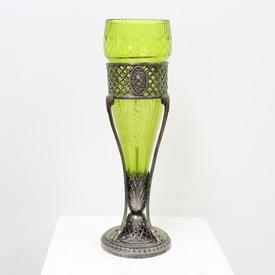 "15"" Silver & Green Glass Epergne Vase"