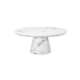 Circ White Marble Effect Coffee Table on Cone Base