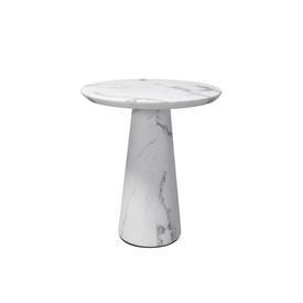Tall White Marble Effect Lamp Table