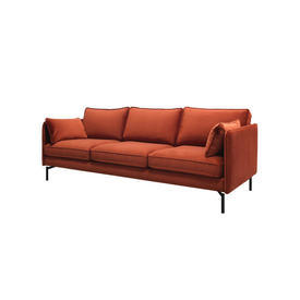 Rust Velvet 3 Seater Sofa on Black Legs with 2 Rect Cushions