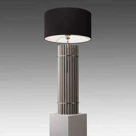 Chrome Ribbed Column ''Reef'' Table Lamp with Black Drum Shade