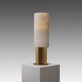 Alabaster & Antique Brass ''Giorgina'' Cylinder Table Lamp