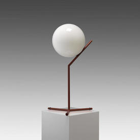 Red Tall ''Ic'' Table Lamp with White Glass Globe Shade