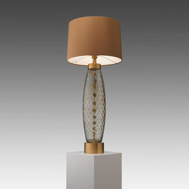 Smoke Glass Ripple ''Harper'' Table Lamp on Brass Base with Fudge Silk Drum Shade