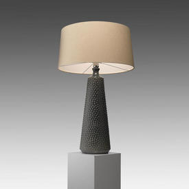 Green Bobbled Ceramic ''Clothide'' Rock Table Lamp with Stone Glaze Linen Shade
