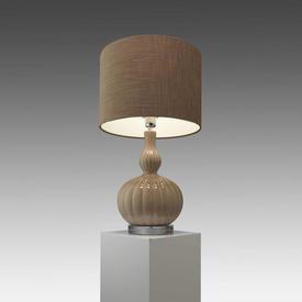 Cream Ceramic Bulbous Pumpkin ''Celine'' Table Lamp with Brown Mole Drum Shade