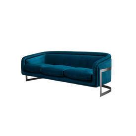 Blue Velvet ''Bacharach'' Sofa on Curved Metal Frame