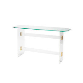 Lucite & Brass Console Table with Long Octangonal Glass Top