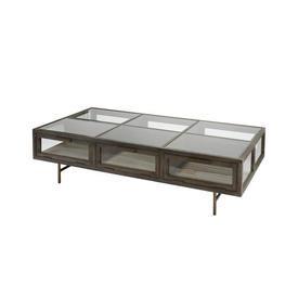 Rect Oak, Iron & Glass Display Coffee Table