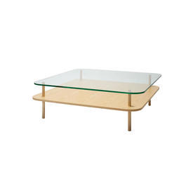 Square Ashwood & Clear Glass 2 Tier Coffee Table