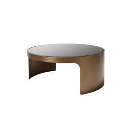 Low Circular Brushed Copper & Black Glass ''Piemonte'' Coffee Table