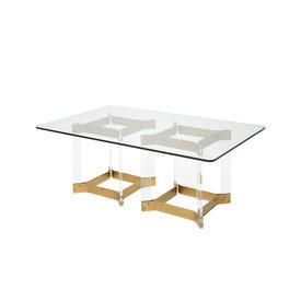 Rect Brass & Glass Column Coffee Table