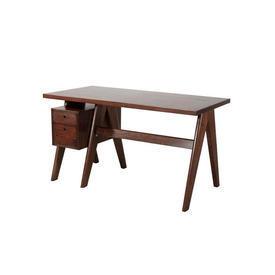 Dark Wooden ''Jullien'' Desk with 2 Drawer Ped