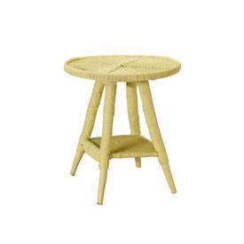 Circular Yellow Wicker Lamp Table