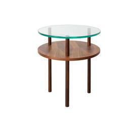 Circular Walnut & Clear Glass 2 Tier Lamp Table