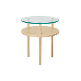 Circular Ashwood & Clear Glass 2 Tier Lamp Table