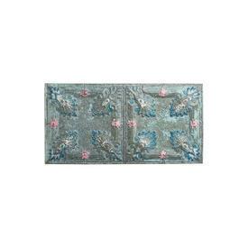 Large Aged Blue & Pink Pressed Tin Panel