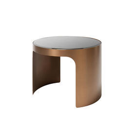 Tall Circular Brushed Copper & Black Glass ''Piemonte'' Coffee Table