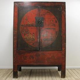 "6'2"" Red & Black Oriental 2-Door Wedding Cupboard with Circle Design"