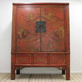 "6'6"" Red & Gold Oriental Landscape Design 2-Door Wedding Cupboard with Brass Rings Lock"