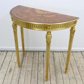 3Ft Gilt Reeded Leg Table Marquetry inlay Top & Glass Cover