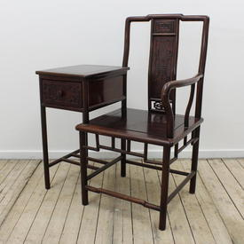 Chinese Teak Telephone Hall Chair with Drawer