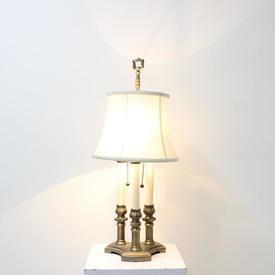 Brass & Cream Triple Colunn Tabl Lamp