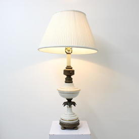 White Porcelain & Brass Table Lamp