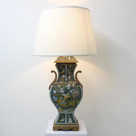 70Cm Green Porcelain & Brass Parrot Patterned Table Lamp