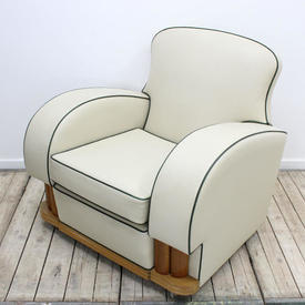Art Deco Cream Leather Easy Chairs with Green Piping & Walnut / Oak Details