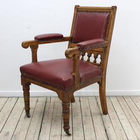 Oak Library Armchair Uphol in Burgundy Leather Seat & Back