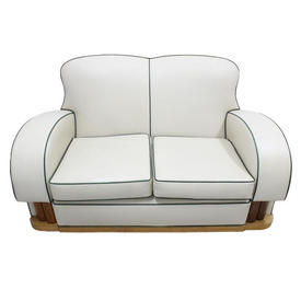 Art Deco Cream Leather 2 Seater Settee with Green Piping & Walnut/Oak Details