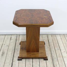 48 5 Cm Square Walnut Art Deco Lamp Table Plain Column & Square Base