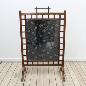 105Cm  x  65Cm Mahogany Japenese Firescreen Mounted with Glazed Panel & Latticework